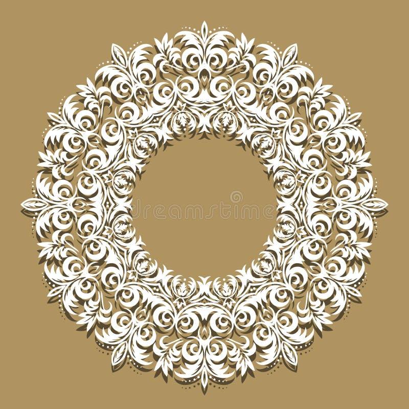 Fond de papier de dentelle, vignette ronde, franc de dentelle ornemental illustration de vecteur