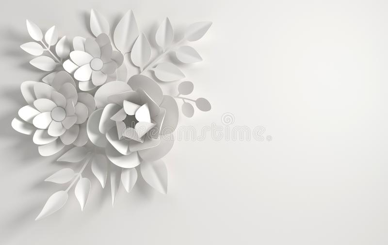 Fond de papier de fleurs de whitel Saint-Valentin, P?ques, le jour de m?re, ?pousant la carte de voeux 3d rendent le ressort num? illustration stock