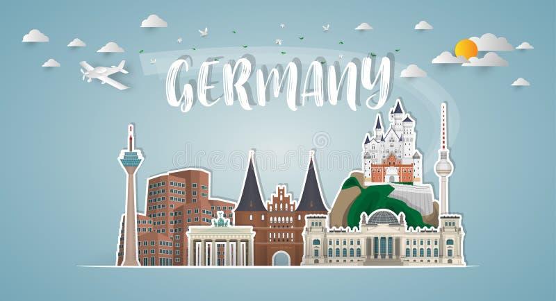 Fond de papier global de voyage et de voyage de point de repère de l'Allemagne Vec illustration stock