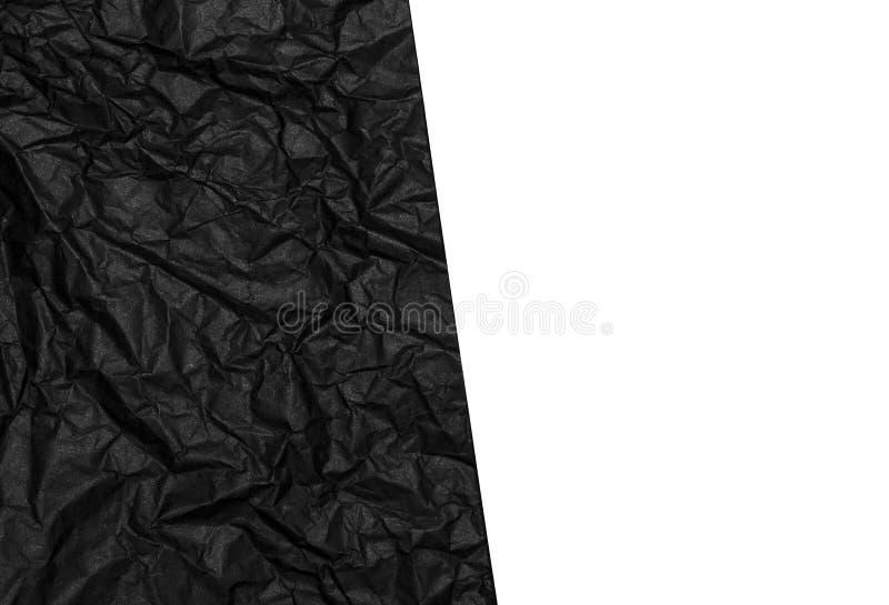 Fond de papier noir et blanc chiffonné de texture image stock