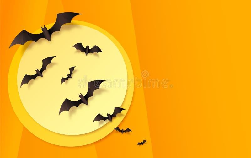 Fond de papier orange avec les battes noires sur la lune jaune Fond de carte de voeux de Halloween de vecteur illustration libre de droits