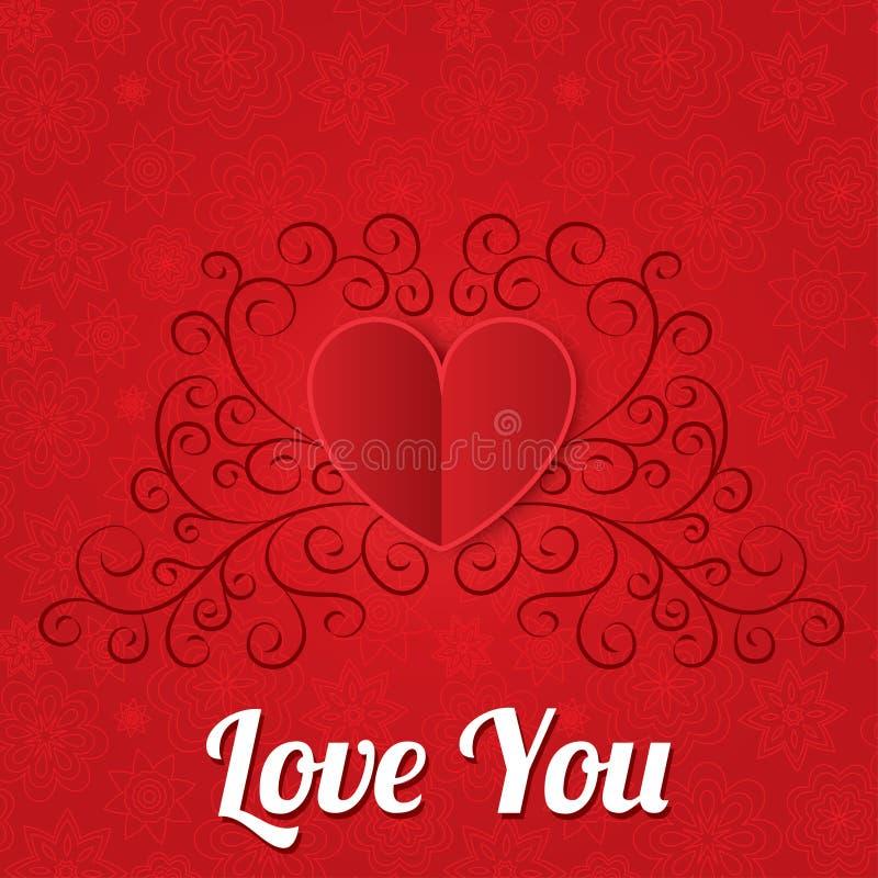 Fond de papier rouge de coeurs. Carte de jour de valentines. illustration stock