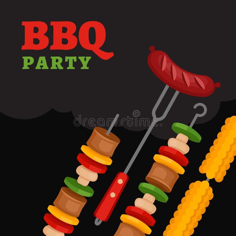 Fond de partie de BBQ avec la nourriture de gril Affiche de barbecue Styl plat illustration stock
