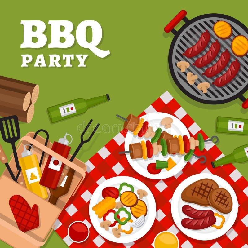 Fond de partie de BBQ avec le gril Affiche de barbecue Style plat, VE illustration de vecteur