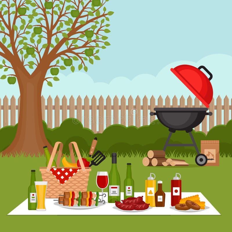 Fond de partie de BBQ avec le gril Affiche de barbecue Style plat, VE illustration stock