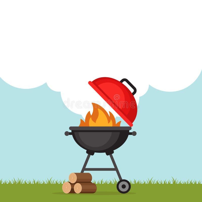 Fond de partie de BBQ avec le gril et le feu Affiche de barbecue plat illustration libre de droits