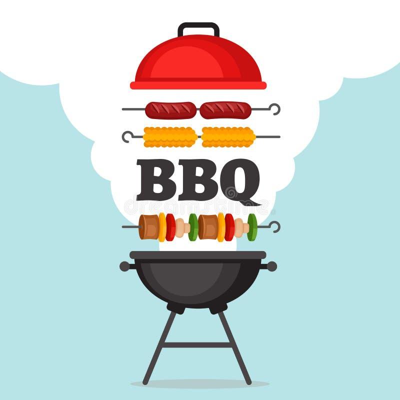 Fond de partie de BBQ avec le gril et le feu Affiche de barbecue plat illustration stock