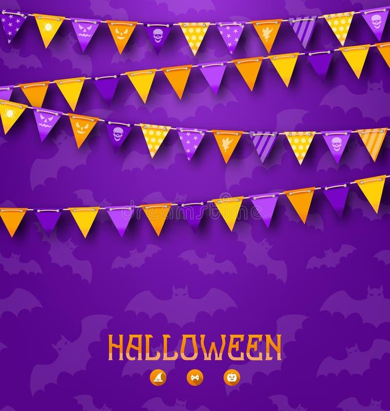 Fond de partie de Halloween avec les fanions donnants un petit coup colorés illustration de vecteur