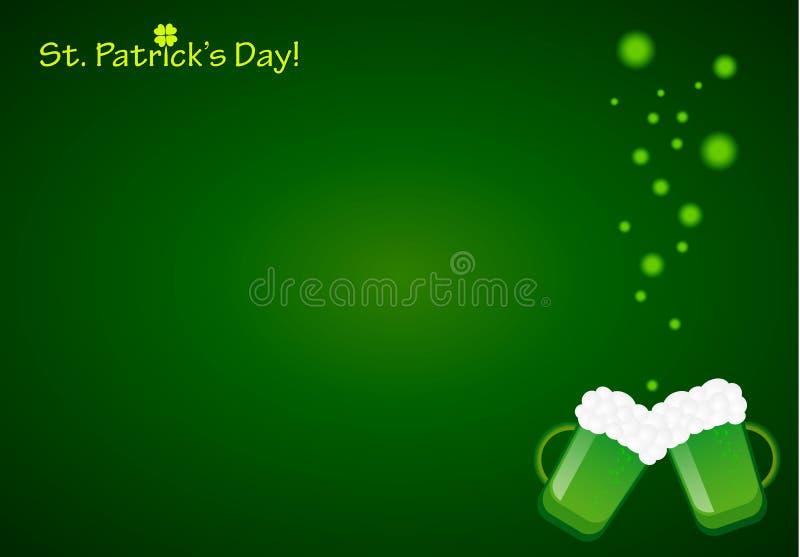 Fond de Patrick Day de saint avec des tasses de bière verte et de bulles magiques illustration libre de droits