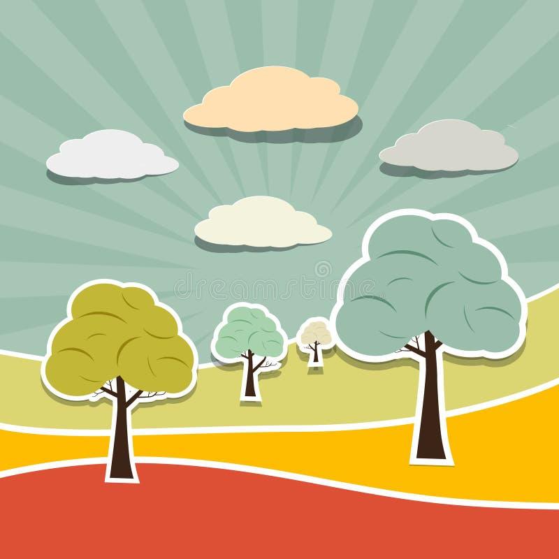 Fond de paysage avec des arbres, nuages illustration de vecteur