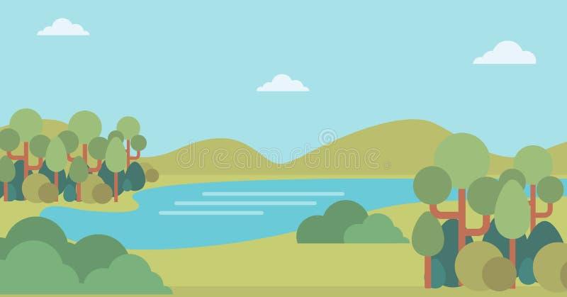 Fond de paysage avec les collines et la rivière illustration libre de droits