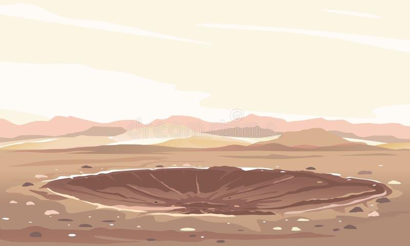 Fond de paysage de cratère de météore illustration libre de droits