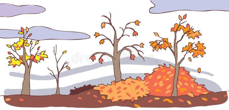 Fond de paysage d 39 automne de bande dessin e d 39 enfant illustration de vecteur image 33475985 - Paysage d automne dessin ...