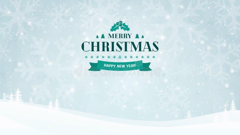 Fond de paysage d'hiver avec des silhouettes et des arbres de flocon de neige Insigne typographique de vintage de Noël et de nouv illustration libre de droits