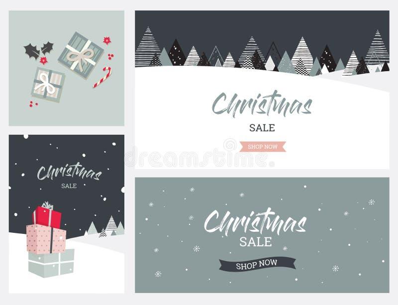 Fond de paysage d'hiver de Noël Vente de Noël Vecteur abstrait