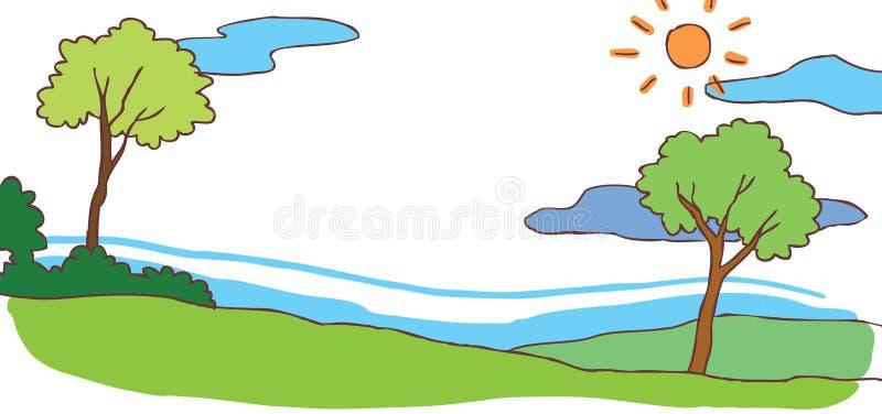 Fond de paysage de colline d'été de bande dessinée d'enfant (VE illustration libre de droits