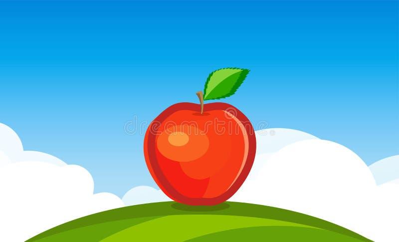 Fond de paysage de nature avec grand Apple rouge sur le champ vert sous le ciel clair quotidien de bleu illustration libre de droits