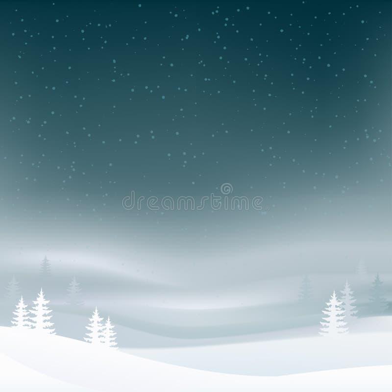 Fond de paysage de nuit d'hiver avec des chutes de neige et des arbres Forêt d'arbre de sapin avec le brouillard Fond d'an neuf e illustration libre de droits