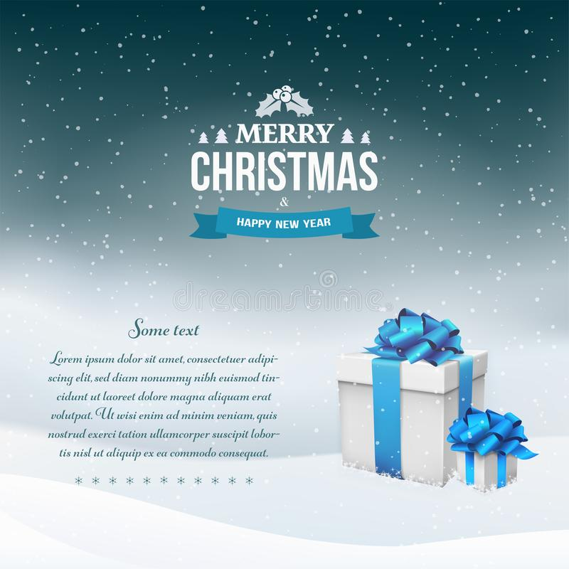 Fond de paysage de nuit d'hiver avec des chutes de neige et des boîte-cadeau avec l'arc et le ruban bleus illustration libre de droits