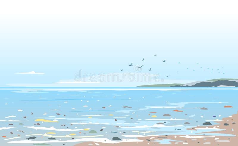 Fond de paysage de pollution d'océan photos libres de droits