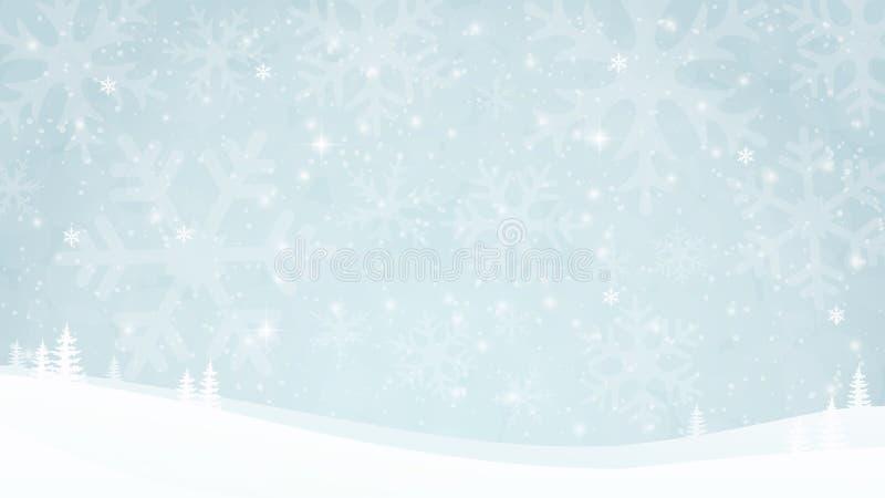 Fond de paysage de soirée d'hiver avec les montagnes et les chutes de neige neigeuses Le flocon de neige silhouette, des étincell illustration de vecteur
