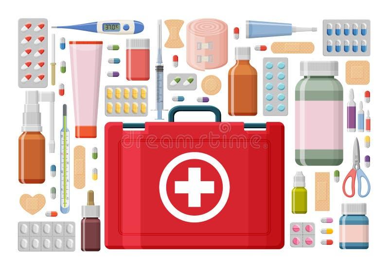 Fond de pharmacie Trousse médicale de premiers secours avec les pilules, le plâtre, les bouteilles et le thermomètre différents,  illustration de vecteur