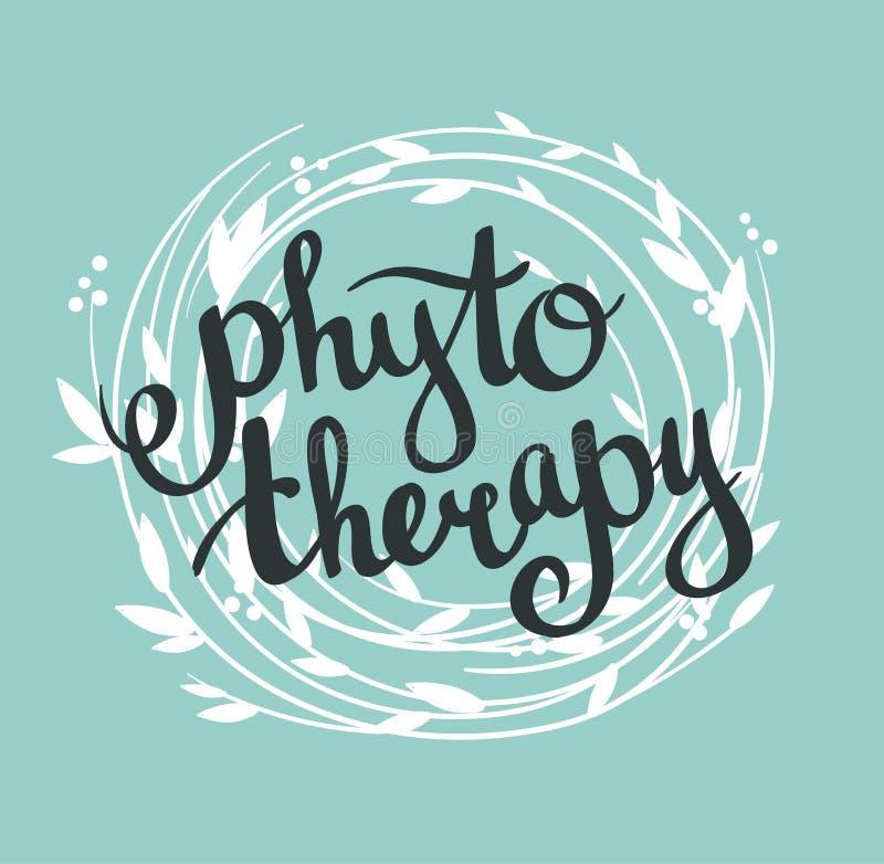 Fond de Phytotherapy Lettrage élégant dans la guirlande illustration libre de droits