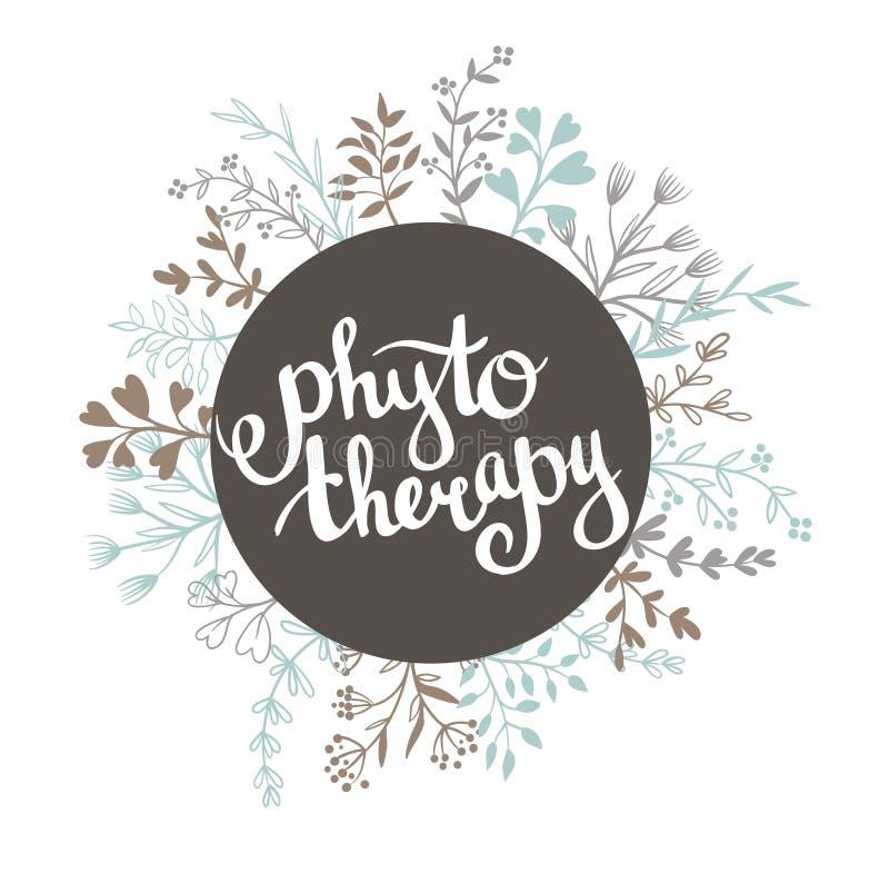Fond de Phytotherapy Lettrage élégant dans le cadre Label naturel de vecteur illustration libre de droits
