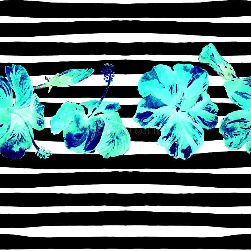Fond de plage d'été Modèle sans couture d'aquarelle Motif tropical peint à la main d'été avec la ketmie et la rayure image libre de droits
