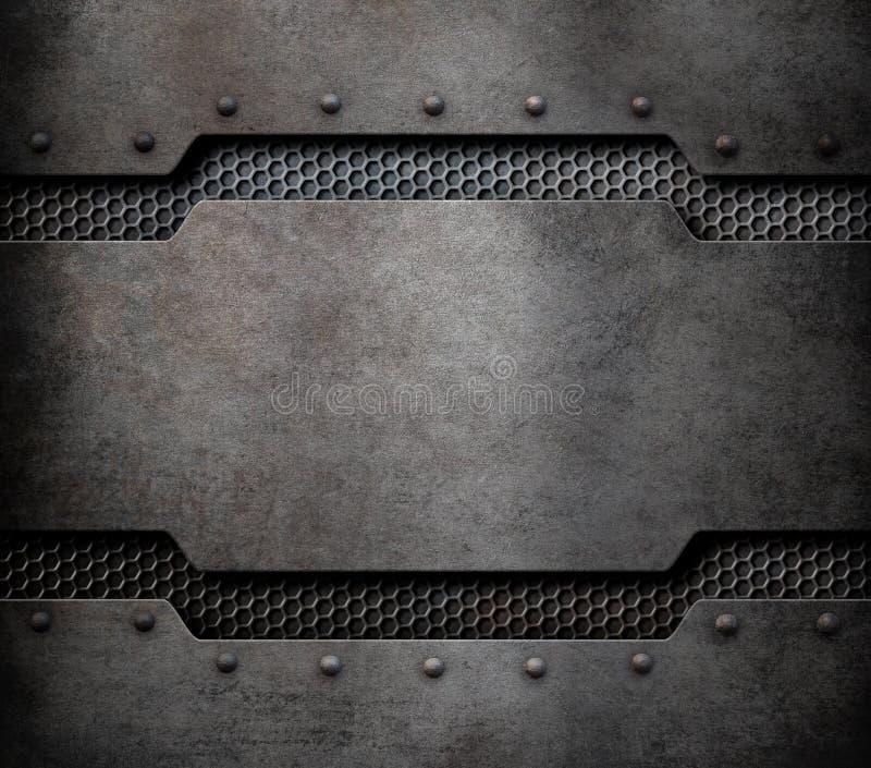 Fond de plaque en métal avec l'illustration des rivets 3d illustration de vecteur