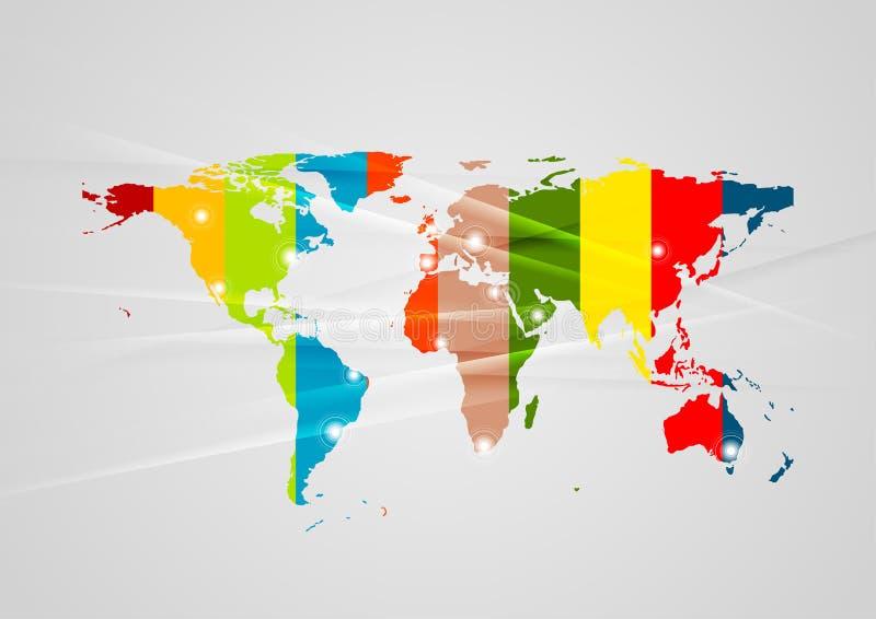 Fond de pointe abstrait avec la carte colorée de la terre illustration stock