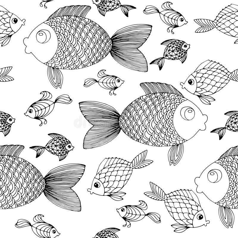 Fond de poissons de drow de main illustration libre de droits