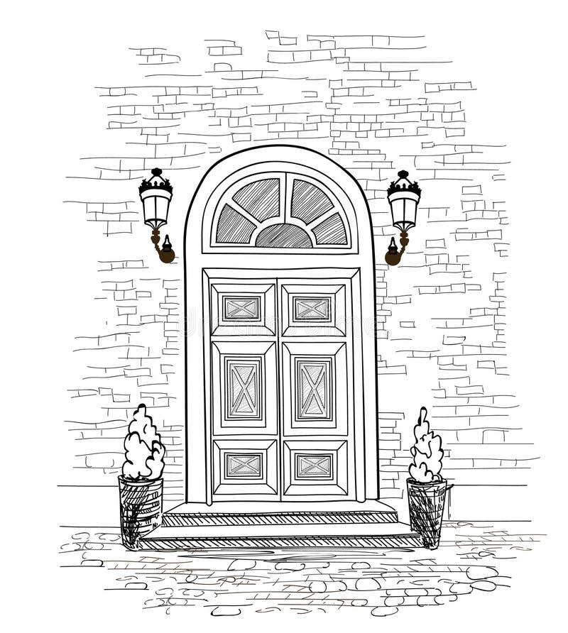 Fond de porte Maison d'Européen d'entrée principale d'entrée de porte de Chambre illustration stock