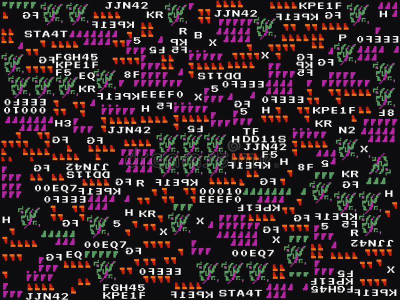 Fond de problème de jeu Symboles abstraits et formes sur le contexte foncé Conception moderne Papier peint de jeu Amusement de vi illustration stock