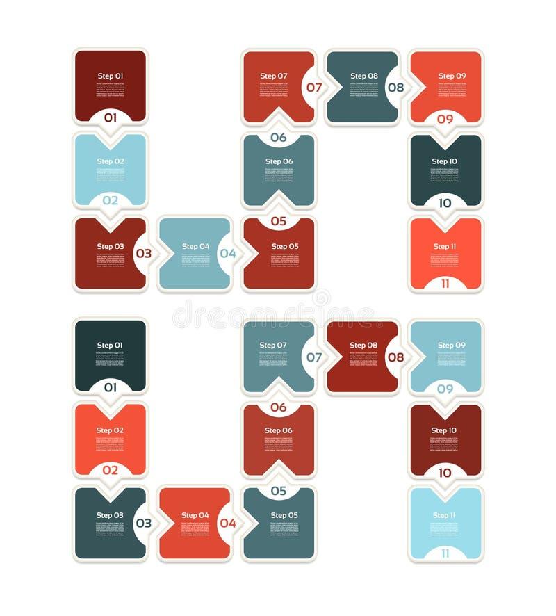 Fond de progrès de vecteur Choix ou version de produit Onze étapes illustration de vecteur