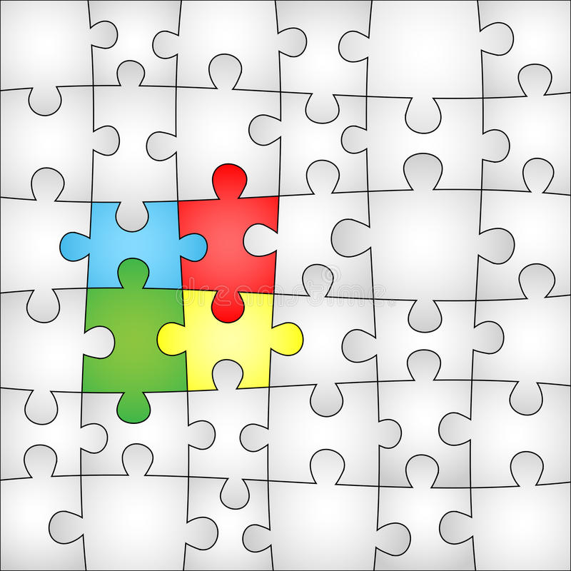 Fond de puzzle de quatre couleurs illustration libre de droits