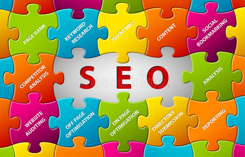 Fond de puzzle de vecteur de SEO illustration stock