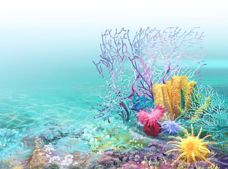 Fond de récif coralien illustration de vecteur