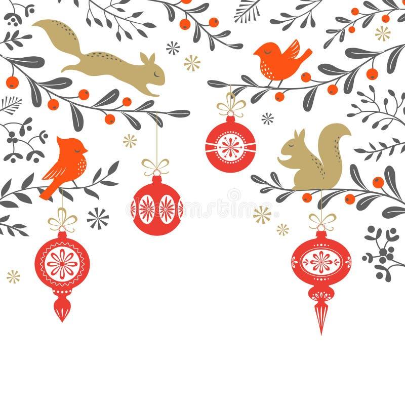 Fond de région boisée de Noël illustration libre de droits