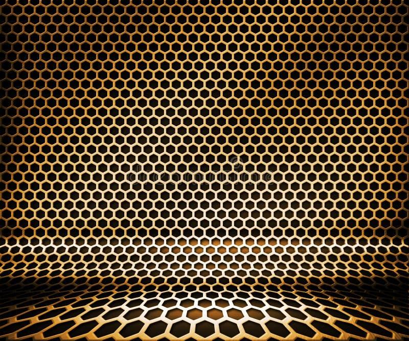 Fond de réseau d'hexa en métal d'or photos libres de droits