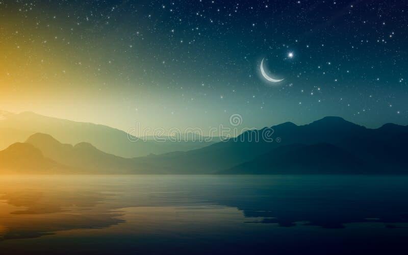 Fond de Ramadan Kareem avec le croissant et les étoiles images libres de droits