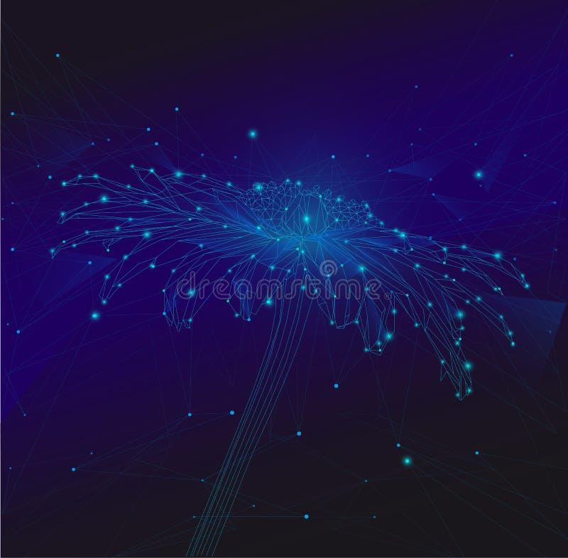Fond de rdark de Vecto avec les fleurs bleues illustration stock