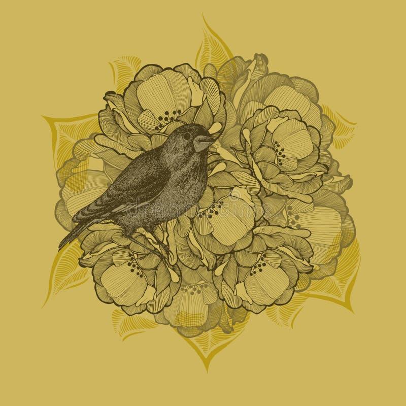 Fond de ressort avec des fleurs et des oiseaux, main-dessin Vecteur i illustration stock