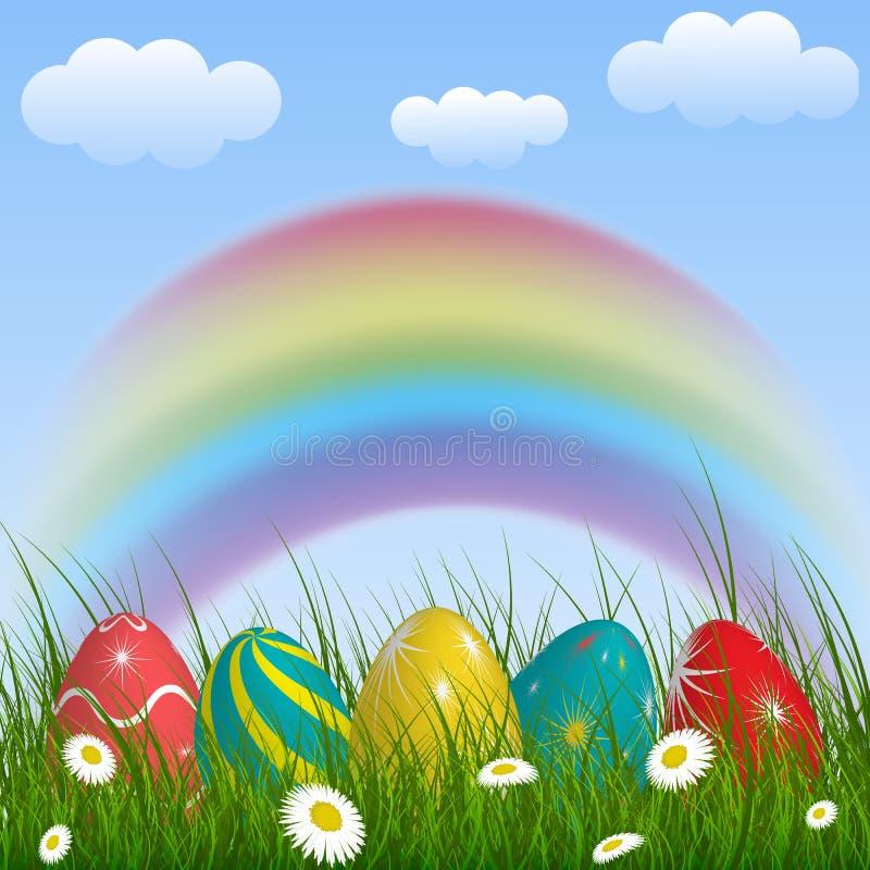 Fond de ressort avec l'arc-en-ciel, herbe verte, fleurs, nuages et illustration libre de droits