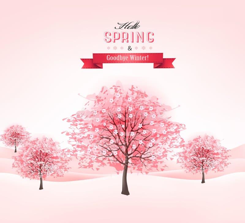 Fond de ressort avec les arbres de floraison de Sakura. illustration de vecteur