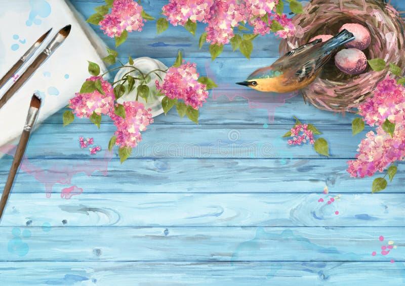 Fond de ressort d'aquarelle illustration de vecteur