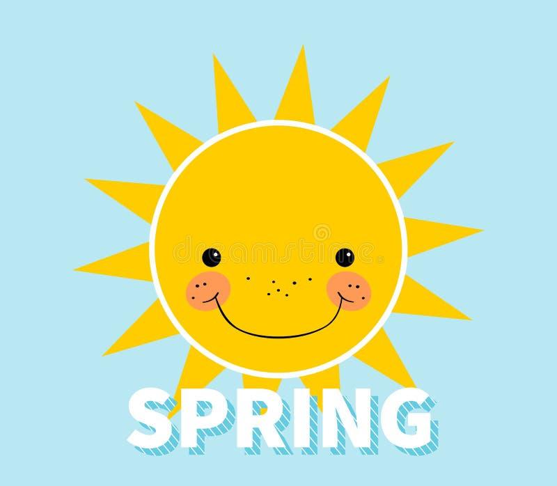 Fond de ressort de bande dessinée Sun Nuage Concept de construction avec le soleil souriant heureux illustration libre de droits