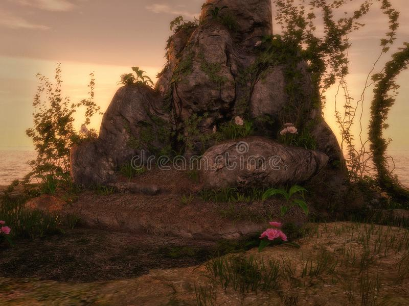 Fond de roche et de lierre d'imagination illustration de vecteur