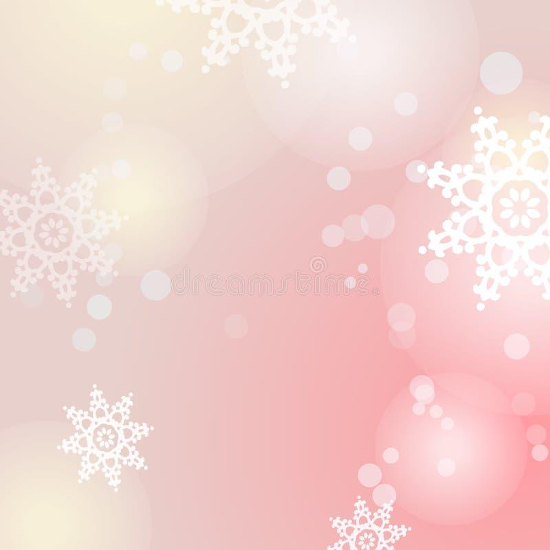 Fond de rose de vecteur d'hiver avec des flocons de neige et des lumières illustration libre de droits