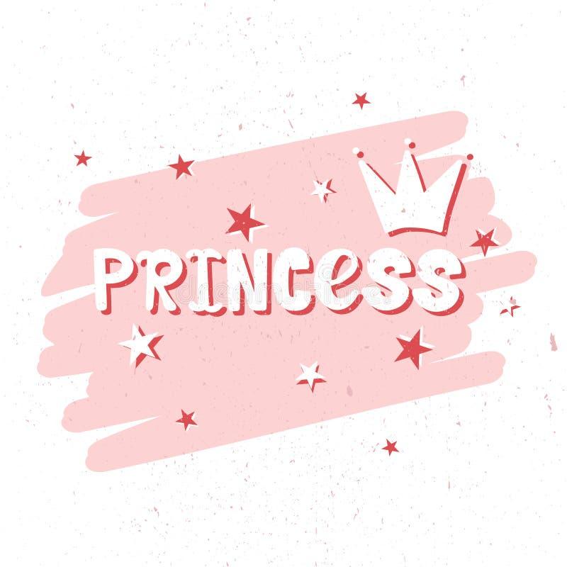 Fond de rose et blanc avec les étoiles, la couronne et le texte anglais Princesse illustration stock